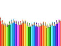 La rangée sans couture d'arc-en-ciel du dessin de couleur crayonne l'illustration de vecteur Image libre de droits