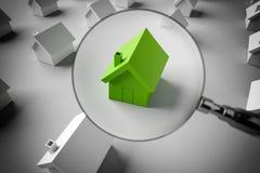 la rappresentazione 3D cerca una casa da vendere Fotografie Stock Libere da Diritti