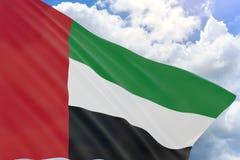 la rappresentazione 3D dei UAE inbandiera l'ondeggiamento sul fondo del cielo blu Fotografia Stock
