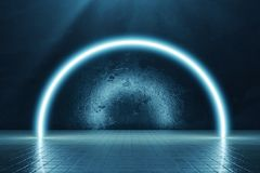 la rappresentazione 3d del blu alleggerisce la parete b di forma e di lerciume del semicerchio royalty illustrazione gratis