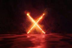 la rappresentazione 3d del rosso alleggerisce la forma dell'alfabeto X in fuoco contro il fondo della parete di lerciume illustrazione vettoriale