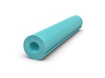 la rappresentazione 3d della stuoia blu-chiaro di yoga per l'esercizio è acciambellato isolata su fondo bianco Immagini Stock