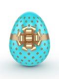 la rappresentazione 3d dello scintillio di Pasqua ed il turchese egg con l'arco royalty illustrazione gratis