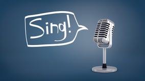 la rappresentazione 3d di un microfono retro d'argento breve sta su un fondo blu con un fumetto come se dicendo una parola Fotografia Stock