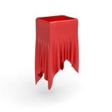 la rappresentazione 3d di un pezzo di vestiti rossi del raso sta nascondendo una scatola sul centro su fondo bianco Fotografia Stock Libera da Diritti
