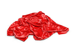la rappresentazione 3d di un pezzo di vestiti rossi del raso sta riposandosi ha isolato su fondo bianco Immagini Stock