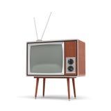 la rappresentazione 3d di un set televisivo retro in bianco con un'antenna sta su una tavola a quattro zampe bassa Immagine Stock