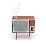 la rappresentazione 3d di un set televisivo retro in bianco con un'antenna sta su una tavola a quattro zampe bassa su fondo bianc Fotografia Stock Libera da Diritti