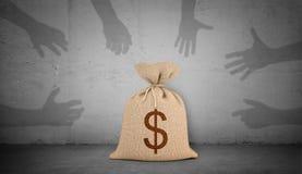 la rappresentazione 3d di una borsa marrone dei soldi con un simbolo di dollaro sta su fondo concreto con molte mani dell'ombra c immagini stock