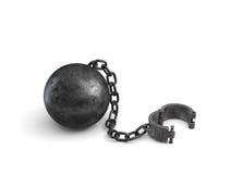 la rappresentazione 3d di una palla al piede nera grande si è collegata ad un polsino aperto che si trova sul fondo bianco illustrazione di stock