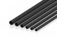 La rappresentazione dei tubi 3d della fibra del carbonio sui tubi di modello non è un fondo bianco royalty illustrazione gratis