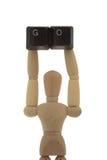 La rappresentazione del manichino PASSA AD ALTO in su Fotografia Stock Libera da Diritti