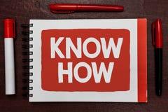 La rappresentazione del segno del testo conosce come Foto concettuale il processo da imparare di fare le cose farete per la prima fotografia stock