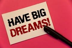 La rappresentazione del segno del testo ha chiamata motivazionale di grandi sogni Ambizione futura Desire Motivation Goal Text de fotografie stock