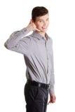 La rappresentazione dell'uomo d'affari lo chiama segno Immagine Stock Libera da Diritti