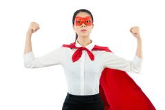 La rappresentazione della donna di affari del primo piano arma il muscolo fotografia stock libera da diritti