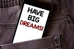 La rappresentazione della nota di scrittura ha chiamata motivazionale di grandi sogni Foto di affari che montra il wr futuro di D immagine stock libera da diritti