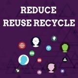 La rappresentazione della nota di scrittura riduce la riutilizzazione ricicla Foto di affari che montra comportamento del consuma illustrazione vettoriale