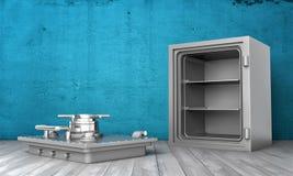 La rappresentazione della scatola sicura d'acciaio che sta sul pavimento di legno con la sua copertura ha rimosso la menzogne acc Fotografia Stock