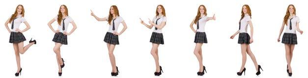 La rappresentazione femminile del giovane studente isolata su bianco Immagine Stock Libera da Diritti