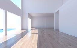 La rappresentazione interna domestica con la parete bianca della stanza vuota e là è Fotografia Stock
