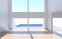 La rappresentazione interna domestica con la parete bianca della stanza vuota e là è Immagini Stock Libere da Diritti