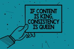 La rappresentazione se il contenuto è re, consistenza della nota di scrittura è regina Foto di affari che montra la mano dell'uom royalty illustrazione gratis