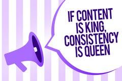 La rappresentazione se il contenuto è re, consistenza della nota di scrittura è regina Foto di affari che montra il megafono di p illustrazione di stock