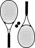 La raqueta de tenis siluetea vector Imagenes de archivo