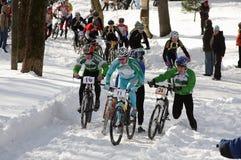 La raza de bicicleta ha comenzado Imagen de archivo