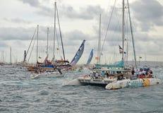 La raza del océano de Volvo los barcos desaparece Imagen de archivo
