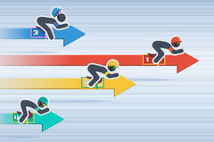 La raza en flechas del gráfico Foto de archivo libre de regalías