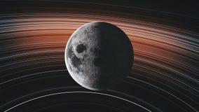 La ?rbita de la luna gira cierre del planeta encima de la galaxia espiral libre illustration