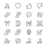 La reacción y el comentario enrarecen iconos ilustración del vector