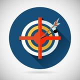 La realización de la flecha del símbolo de la meta golpeó el icono de la blanco encendido Fotos de archivo