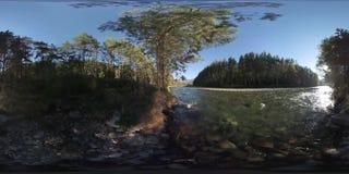 la realtà virtuale di 4K 360 VR di un fiume entra sopra le rocce in questa bella foresta archivi video