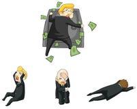 La reazione divertente dell'uomo d'affari nella crisi finanziaria si siede Fotografia Stock