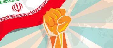 La rebelión de la lucha de la independencia de la lucha y de la protesta del cartel de la propaganda del puño de la mano de Irán  libre illustration