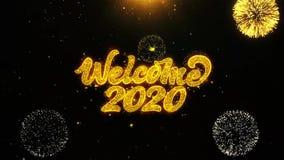 La recepción 2020 desea la tarjeta de felicitaciones, invitación, fuego artificial de la celebración colocado libre illustration