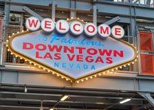 La recepción a Las Vegas céntrico firma adentro la calle de Fremont fotos de archivo libres de regalías