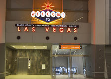 La recepción a Las Vegas firma adentro el aeropuerto internacional de McCarran en Las Vegas Imagen de archivo