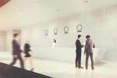 La reception lunga, orologi, accantona tonificato Fotografia Stock