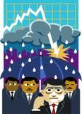 La recessione inumidice il clima economico Immagini Stock