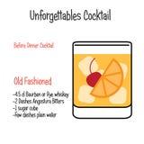 La recette alcoolique démodée d'illustration de vecteur de cocktail a isolé illustration de vecteur