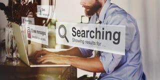 La recherche recherchant l'exploration découvrent inspectent trouver le concept images stock