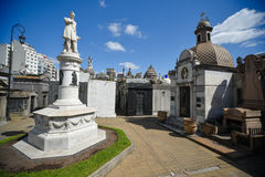 La Recoleta Cemetery. Buenos Aires, Argentina - Sept 23, 2016: View of a the monument of Governor of Buenos Aires Province Valentin Alsina at the La Recoleta stock photos