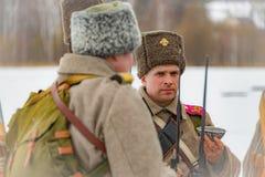 la reconstrucción Militar-histórica de luchas de épocas del primer mundo en el Borodino coloca el 13 de marzo de 2016 imagenes de archivo