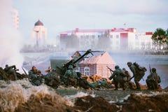 La reconstruction de la bataille pendant les événements a consacré au soixante-dixième anniversaire Image libre de droits