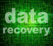 La recuperación de los datos representa conseguir la parte posterior y bytes Fotografía de archivo