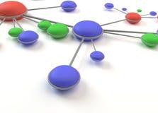 La red abstracta circunda la célula 3D Fotografía de archivo libre de regalías